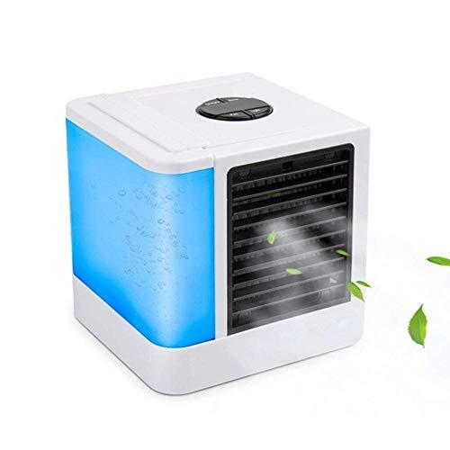 Persönlicher Verdunstungsluftkühler und Luftbefeuchter, persönlicher Raumkühler, kompakter USB-tragbarer Klimaanlagen-Luftreiniger-Tischlüfter mit 7 Farben LED
