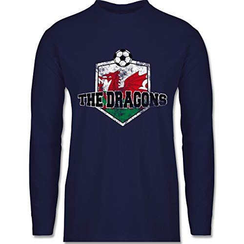 Shirtracer Fußball - Wales- The Dragons Vintage - Herren Langarmshirt Navy Blau