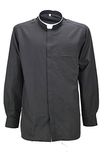 Shirt Priester Priester Priester Popeline Schwarz mit Brusttasche - 15½ 39