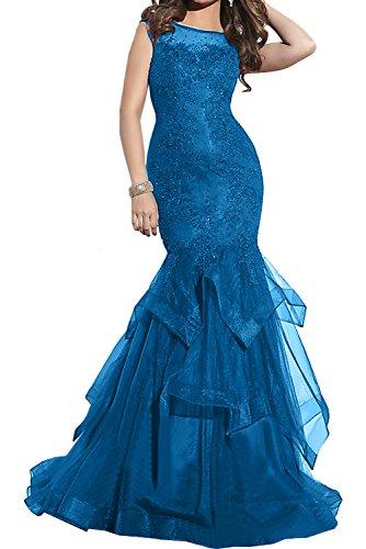 Toscane à une femme mariée épaule abendkleider cocktail tanzkleider forme courte en satin Bleu - Bleu