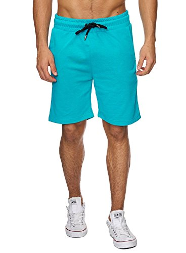 Reslad Sweat-Shorts Herren Basic Sport Freizeit Kurze Sweat-Hose RS-5061 Türkis M (Fleece Shorts Sweat)