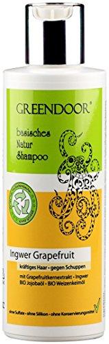 Greendoor Natur Shampoo Ingwer Grapefruit 200ml - Männer-Shampoo / for men, für kräftiges Haar & gegen Schuppen - 100% biologisch abbaubar und outdoor geeignet, aus Bio Olivenöl und Bio Kokosöl, basisches Shampoo ohne Silikon, ohne Sulfate, ohne Konservierungsmittel, natürlich ohne Tierversuche, basische BIO Haarpflege, all natural, aus der Naturkosmetik Manufaktur