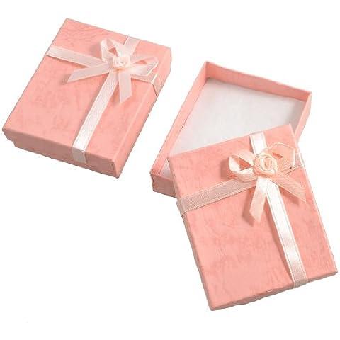 2x Cajas de Regalo de Cartón con Lazo - Ideal Pulseras - Color Rosa Melocotón
