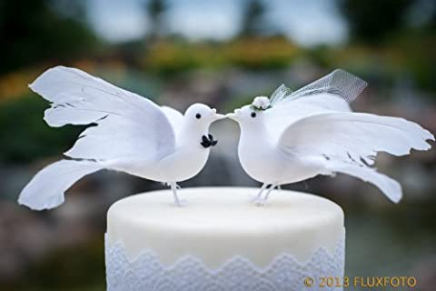Lovey Dove Cake Toppers Décoration pour gâteau de mariage marié et mariée élégante