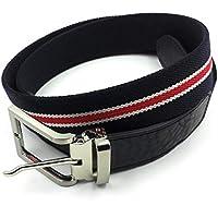FJR-ArtPiel - Cinturón elástico tricolor 35mm con extremos en Piel Ubrique - Alta Calidad - Negro