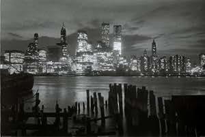 Empire 292094 New York Manhattan la nuit Poster en noir et blanc 91,5 x 61 cm