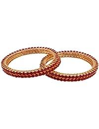 SG Jewells American Diamond Gold Plated Traditional Red Diamond 4 Bangles Set For Women_2.6