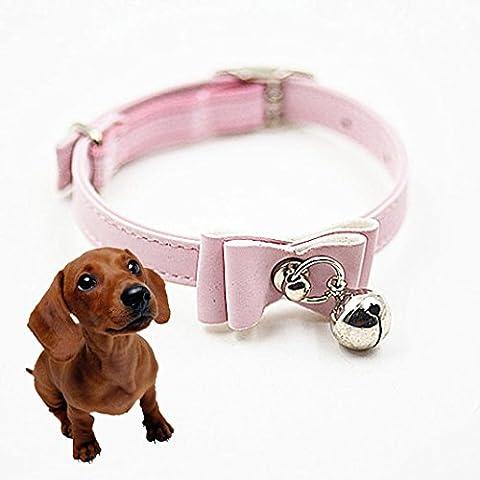 Cane Collari,Ouneed® Carino Fiocco Campana Piccolo Collare Collari per Cani Collare del Gatto Hot (Rosa)
