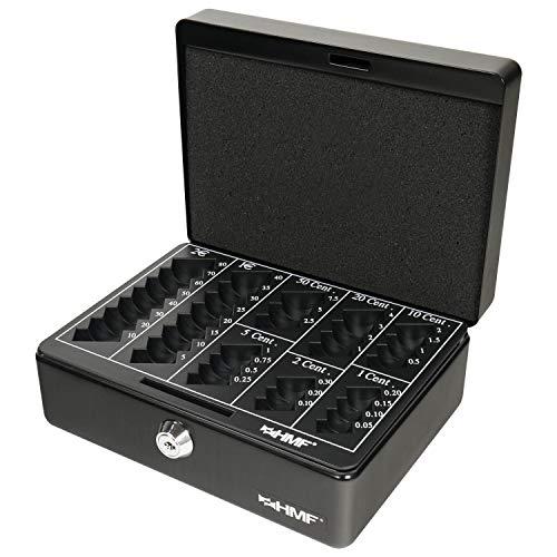 HMF 308-02 Caja de caudales, para monedas 20 x 16 x 9 cm, negro