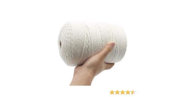 3 MM Durable Macrame Corda di Cotone Klhamky Spago Bianco Filo Cotone per Tende Wall Hanging Acchiappasogni Cordoncino Fai da Te Arazzo Festa Natale 500M Spago per Decorazioni Naturale