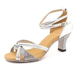Minetom Mujer Moda Sandalias Elegante Latín Tango Baile Zapatos Verano Medianos Talón Sandalias Plateado 40