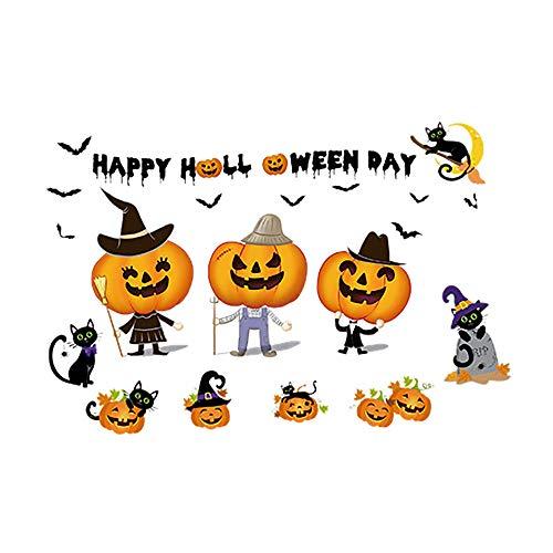 ZzZz Deco Deguisement Halloween Stickers Autocollant Decoration Heureux Maison Ménage Chambre Autocollant Mural Décor Décalque Amovible Nouveau Sticker Mur Citrouille Mignon (Citrouille)