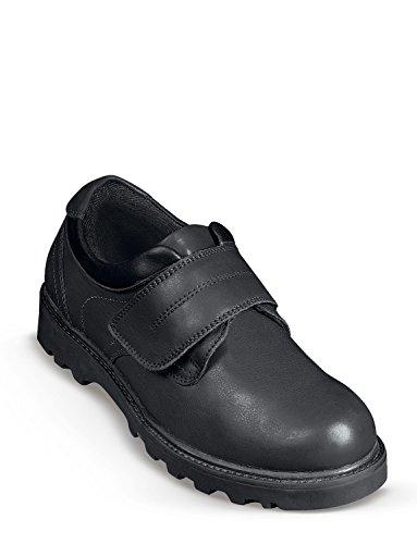 Herren Echt Leder Klettverschluss Spazier Schuhe Schwarz