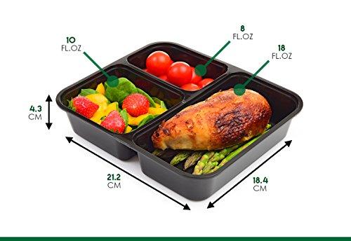 |10 pack| 3 fach Meal Prep Container. Frischhaltedosen Bento-Box Set mit Deckel. Spülmaschine, Mikrowelle, Gefrierschrank safe. BPA-frei Frishchalteboxen aus Kunststoff mit Trennwände [1L] - 4