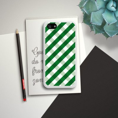 Apple iPhone 5s Housse Étui Protection Coque Carreau Vert Motif Housse en silicone blanc