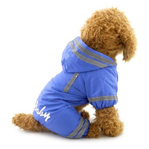 Zunea hundemantel Kleine Hunde Regenmantel mit Kapuze wasserdicht Regenjacke Mesh gefüttert Puppy Zupfbürste reinwear Hund Pet Regen Gear/Anzug Jacke Jumpsuit Kleidung Blau S (Regen-jacken Für Kleine Hunde)