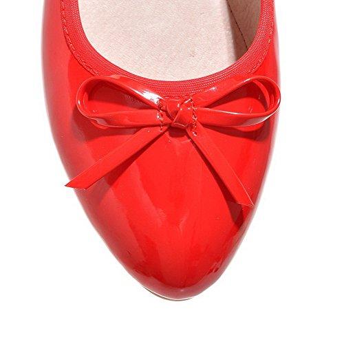 AllhqFashion Femme Rond à Talon Bas Verni Couleur Unie Tire Chaussures Légeres Rouge