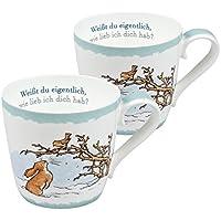 """2x Geschirr Set Motiv /""""Rate mal wie lieb ich Dich hab!/"""" mit Hasen//Ostergeschenk"""