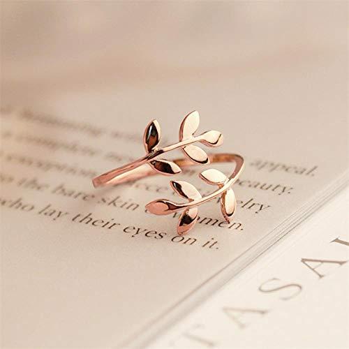 PULT Olive Tree Branch Blätter offener Ring für Frauen Mädchen Trauringe verstellbare Knöchel eleganten Schmuck Damen, veränderbar, Rose Gold