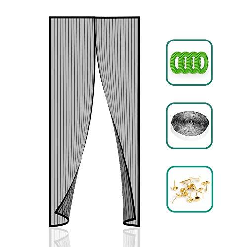 Norjews Magnet Fliegengitter Tür Insektenschutz Balkontür (90×210cm) Fliegenvorhang ist Ideal für die Balkontür und Terrassentür, Klebemontage Ohne Bohren - inklusive 4 x Mückenschutz Armband