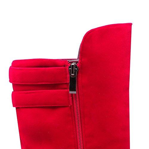 AgooLar Damen Eingelegt Hoher Absatz Reißverschluss Rund Zehe Stiefel mit Schnalle Rot