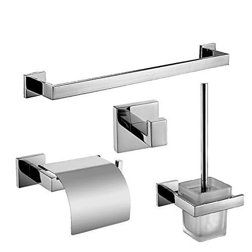 xiaofengliustore Bathroom Accessories :Bad Zubehör-Set Moderne Edelstahl 4pcs - Hotelbad Toilettenbürstehalter Turm Bar Kleiderhaken Toilettenpapierhalter:Nickel -