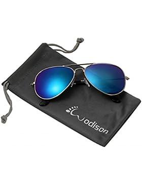 WODISON Classic Aviator Gafas de sol Reflective Metal Frame para Niños Niños Unisex