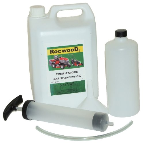 5 Litres Of SAE30 Engine Oil & Manual Fluid Extractor Kit For Lawnmowers by RocwooD