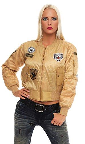 Mr.Shine - Damen Gefechtsabzeichen Armee Motorradfahrer Jacke Klassische Bomber Mantel XS-XL (S, Beige)