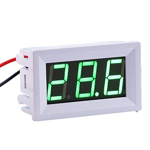 Yeeco -50-110 ° C Grad Celsius Digital-Thermometer Auto/Motor Temperatur Panel Meter Temperaturanzeige Monitor-LED-Anzeige grün mit Wasserdichtes B3950-10k Sonde Sensor DC 12V White Shell