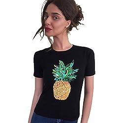 WanYang Mujeres Piña Lentejuelas Impresión De La Manga Corta Top Verano Camiseta Tops Camisetas
