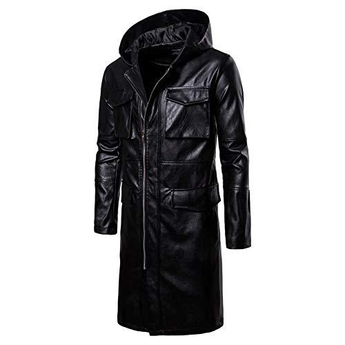 Kapuze PU Leder Trenchcoat Schwarz Motorrad Jacken Casual Reißverschluss Windjacke Winddichte Warme Oberbekleidung,Black-XXL/Bust134cm ()