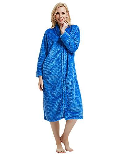 LAPAYA Damen Fleece-Bademantel Wadenlänge Langarm flauschig einfarbig Reißverschluss vorn Bademantel - Blau - Etikettengröße Medium=US Größe Small - Damen Vorne Reißverschluss Fleece-bademäntel