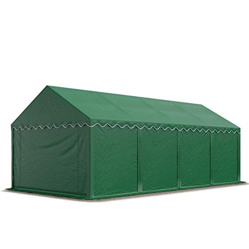 TOOLPORT Tente de Stockage 4x8 m Economy Toile PVC 500 g/m² Vert Fonce imperméable Protection...