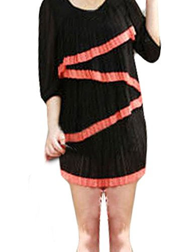 Femme Rouge Pastèque Ourlet Superposition Plissé Mousseline Chemise noir XS Noir