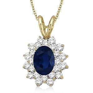 Allurez Blue Sapphire and Diamond Accented Pendant 14k Yellow Gold (1.60ctw)