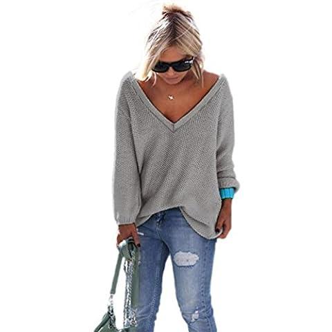 YouPue Femmes Oversized Profond Col V Manches Longues Tricots Pull Knitwear Blouse Chemise Hauts Tops Café Léger