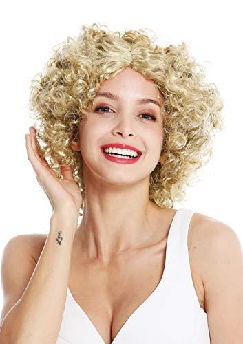 A89 Perücke Damen Karneval Fasching Funky 60er 70er Funk Afro Locken Mittelscheitel Blond ()