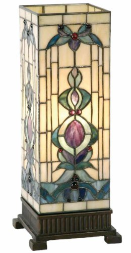Lumilamp 5LL-9220 Säulenlampe Beistellleuchte Lampe im Tiffany-Stil 18 * 45 cm 1x E27 max 40w dekoratives buntglas Tiffany Stil