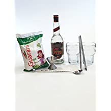 Pitu Bar Set – Pitu Cachaca 70cl (40% Vol) + Messbecher + Barlöffel + 2 Caipirinha Gläser + Eiszange + 1kg Weißer Rohrzucker
