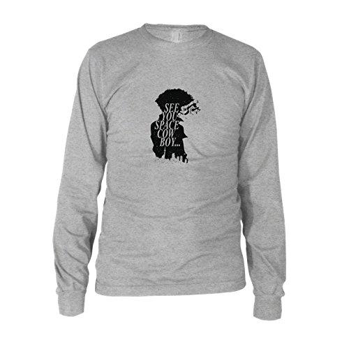 Space Cowboy - Herren Langarm T-Shirt, Größe: M, Farbe: grau (Kostüm Cowboy Space)