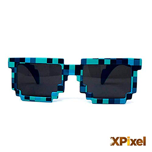 Spainbox Pixel Sonnenbrillen für Kinder und Erwachsene - Unisex - UV400-Schutz - CE-geprüft - Blau