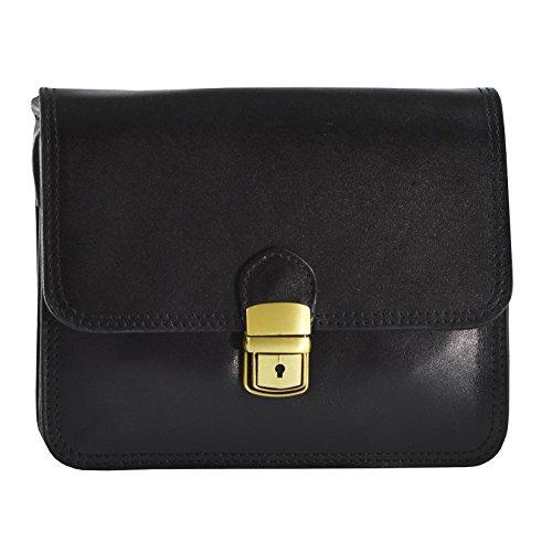 CTM Petit Porte Femmes épaule en cuir véritable made in Italy - 20x17x7 Cm