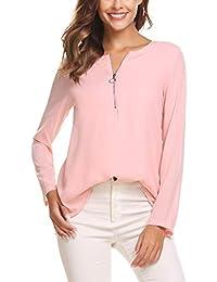 Finejo Damen Elegant Blusen Tunika Blusenshirt Langarmshirt V Ausschnitt  Oberteile T-Shirt mit Reißverschluss Vorne 6b11fc6557