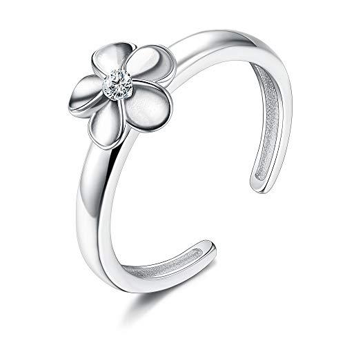Silber Zehenring für Frauen Mädchen Plumeria Blume CZ Einstellbar Strand Hochzeit Zehenstreifen ()