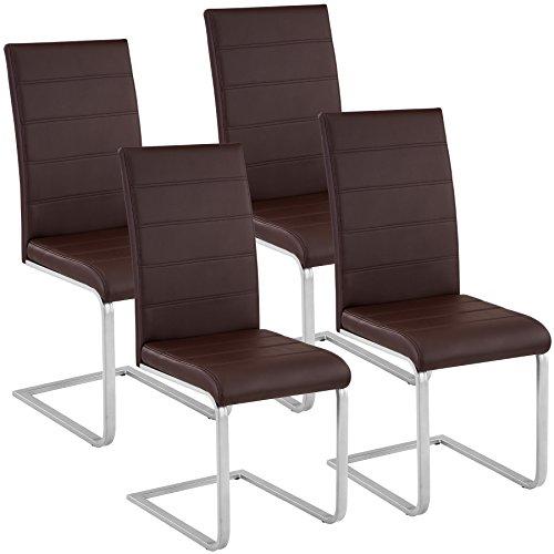 TecTake Esszimmerstühle Schwingstuhl Set | Kunstleder - Diverse Farben - (4er Set braun | Nr. 402556) - Designer Leder Stühle