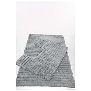 Lot 2 tapis gris pour salle de bain et wc - 105492