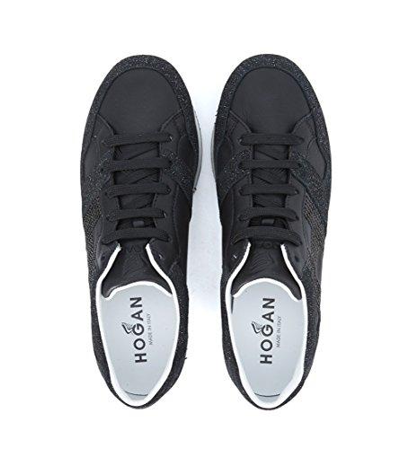 Sneaker Hogan H222 in pelle nera con dettagli glitterati Nero