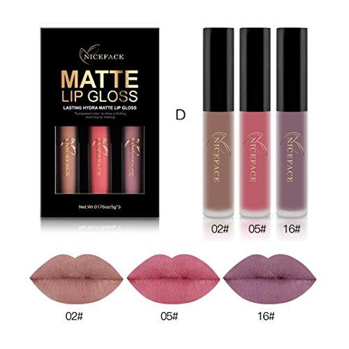Femme Matte Liquid Rouge à Lèvres 3pcs /Set Velvet Lipstick (D)