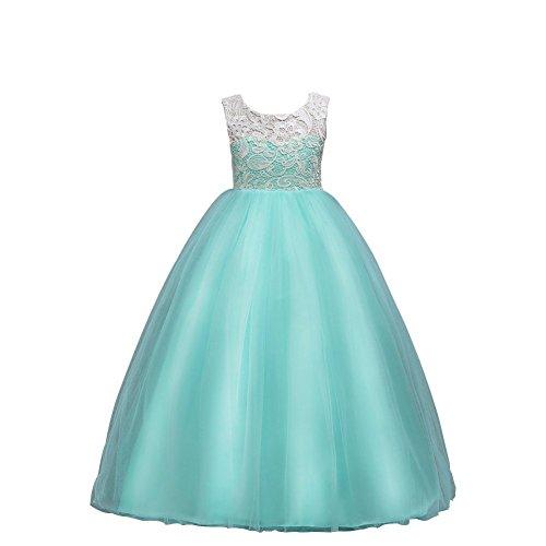 Wulide Kinder Mädchen Prinzessin Kleid Abendkleid mit 'Blumen'-Muster, Hellgrün,...